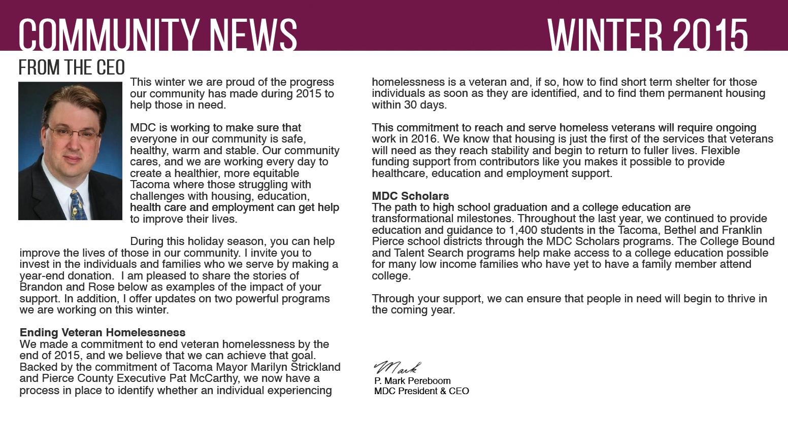 MDC Community News For Winter 2015